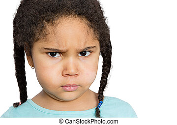 Angry Girl Staring at You Against White Background - Close...
