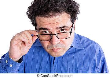 Man with Eyeglasses Looking at Camera Seriously