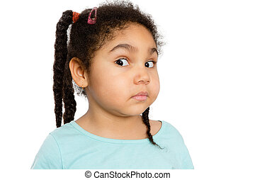 Surprised Young Girl Against White Background - Close up...