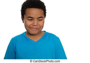 Happy Eight Year Old Boy Looking Sideways