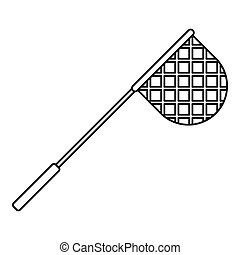 Net for fishing icon, outline style - Net for fishing icon....
