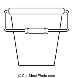 Bucket icon, outline style - Bucket icon. Outline...