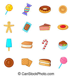 Different candy icons set, cartoon style - Different candy...