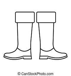 High rubber boots icon, outline style - High rubber boots...