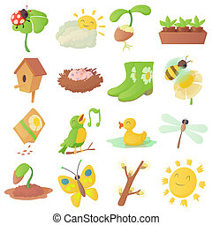 Spring things icons set, cartoon style - Spring things icons...