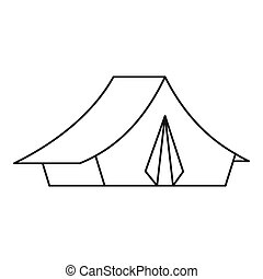 Tent icon, outline style - Tent icon. Outline illustration...