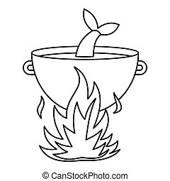 Fish soup in the cauldron icon, outline style - Fish soup in...