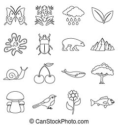 Nature items icons set, outline style - Nature items icons...