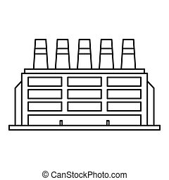 Manufacturing factory building icon, outline style