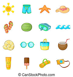 Summer items icons set, cartoon style - Summer items icons...