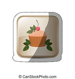 sticker square button with cupcake and leaves