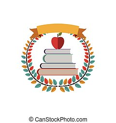 colorful olive crown with ribbon and school books with apple