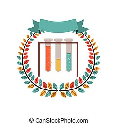 colorful olive crown with ribbon and test tube vector...
