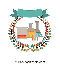 colorful olive crown with ribbon and lab test tube vector...