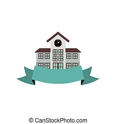 colorful silhouette high school structure with ribbon vector...