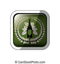sticker square button with crown of leaves with bottle wine and cutlery