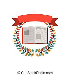 colorful olive crown with ribbon and opened book vector...
