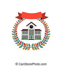 colorful olive crown with ribbon and high school structure...