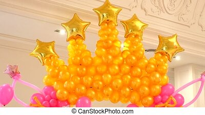 Archway of baloons Happy birthday decoration.