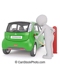 Cartoon Figure Recharging Electric Car at Station - Generic...