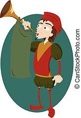 Funny Herald with Trumpet - a vector cartoon representing a...