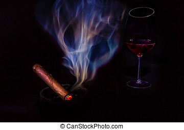 Stogie & Vino - A stogie and a glass of vino.