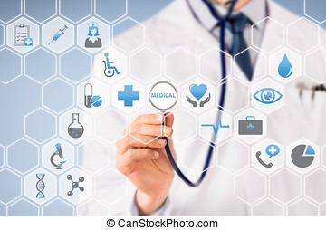 Doctor Visual Screen with Stethoscope on Medical Icons