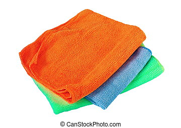 isolated stack of three towels