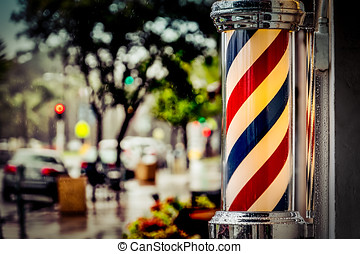 The Barber - Rain collecting on a barber pole in southern...