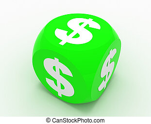 dice with dollar sign.3d illustration