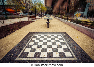 Checkers - Checker tables at San Jacinto Plaza in El Paso,...