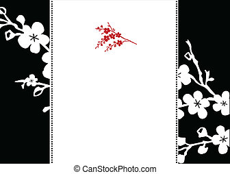 Vector Red Blossom and Frame