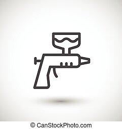 Pintura, línea, arma de fuego, icono