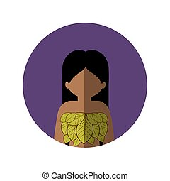 circle with half body woman with leaves in chest and middle shadow