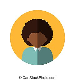 circle with half body afro man with curly hair and middle shadow