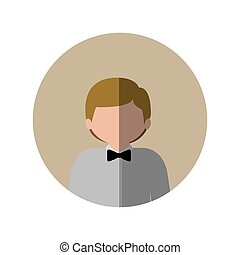 circle with half body man with blonde hair and bow tie and middle shadow