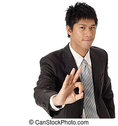 Young executive give you ok gesture with copyspace on white.