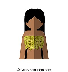 half body woman with leaves in chest and middle shadow