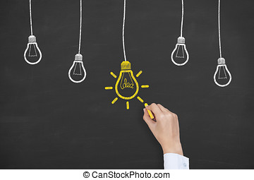 New Idea Solution Concepts on Chalkboard Background