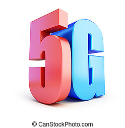 5G sign, 5G cellular high speed data wireless connection. 3d Illustrations on white background