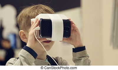 Individual 3D display virtual reality on a head of a boy