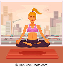 illustration of a girl yoga in the lotus position