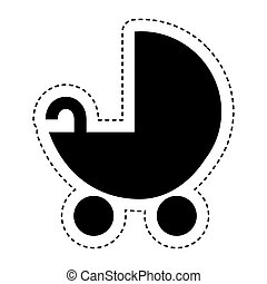 baby cart silhouette isolated icon vector illustration...