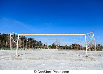 Empty snowy soccerball field - Empty soccerball field...