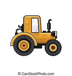 Yellow Farm Tractor Icon on White Background. Vector...
