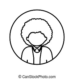 monochrome contour in circle with half body afro man with curly hair