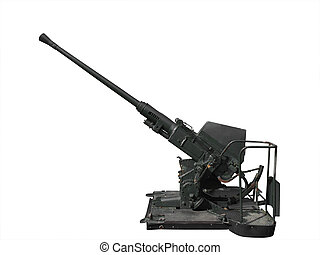 Anti-aircraft gun, light 40mm isolated on white with...