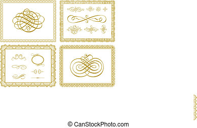 Vector Certificate Borders and Ornaments - Set of vector...