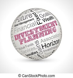 investment planning theme sphere with keywords - investment...