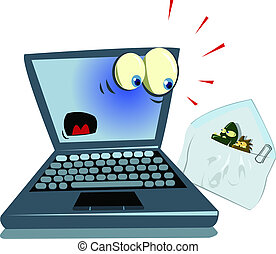 laptop and spam - laptop and viruses attached on a spam...